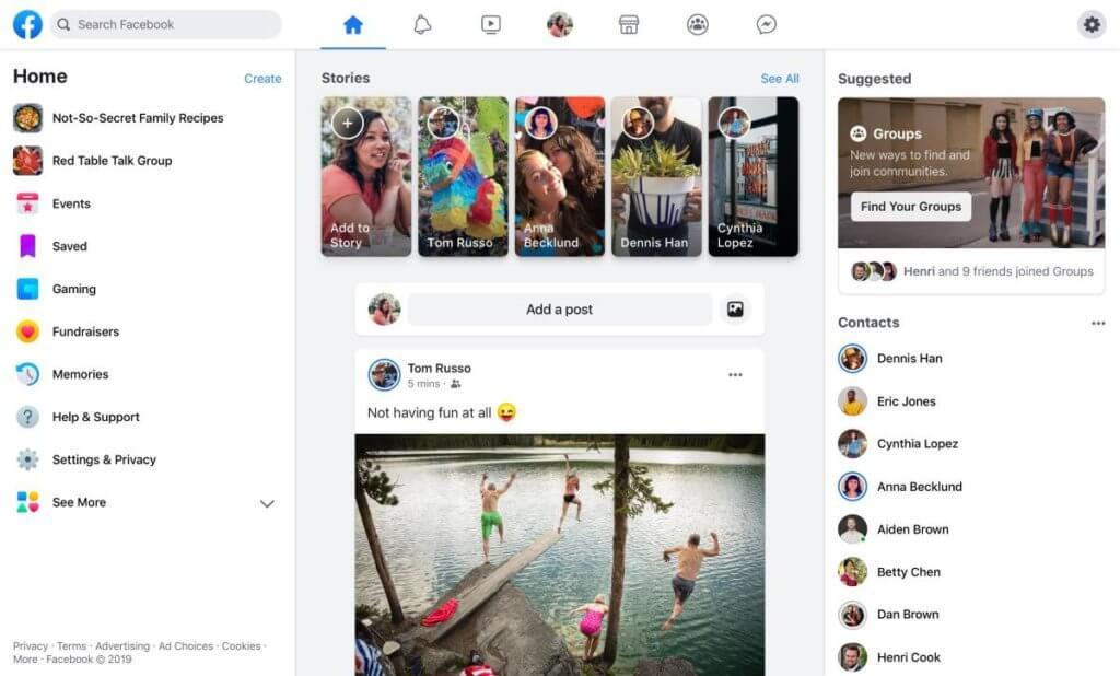rediseño facebook 2019 diseño minimalista facebook